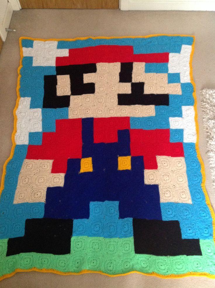 Mario crochet blanket :)
