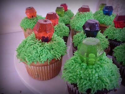 Rupees in grass cupcakes