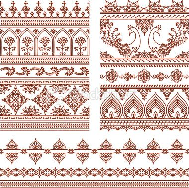 Mehndi Tall Borders (Vector) Royalty Free Stock Vector Art Illustration