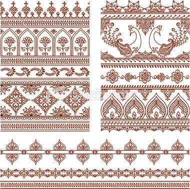 Mehndi Tall Borders (Vector) Royalty Free Stock Vector Art Illustration