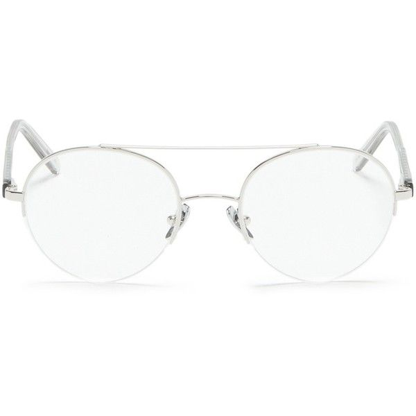 Super 'Numero 24' double bridge round wire optical glasses (£235) ❤ liked on Polyvore featuring accessories, eyewear, eyeglasses, metallic, aviator eyeglasses, rounded glasses, lightweight glasses, retrosuperfuture glasses and metallic glasses