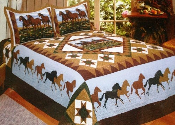 Horse Whisper Blue 3 Pc Full Queen Quilt Bedding Set