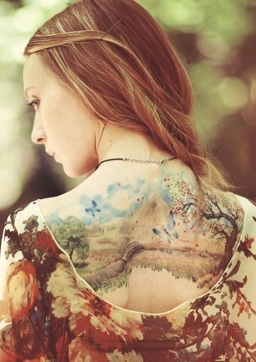 I think this is absolutely beautiful - but i don't want quite that large of a tattoo. (tattoo can be a nature scene, not just tree)