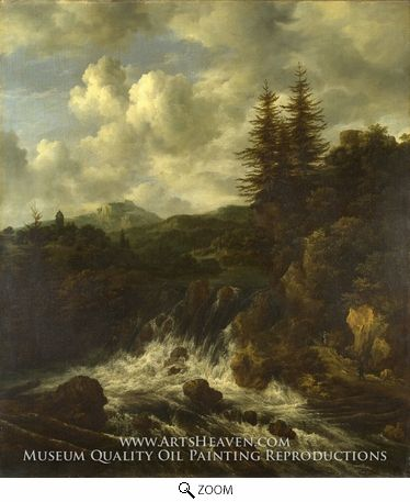 Oil Painting Reproduction on Canvas Artist: Jacob Van Ruisdael Date: 1666, Baroque Museum: The National Gallery, London, England  View this painting in various frame styles  Aged & Cracked is available for this painting