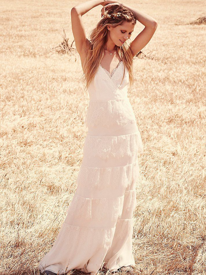 Tiered lace maxi, Free People #wedding #dress #highstreet