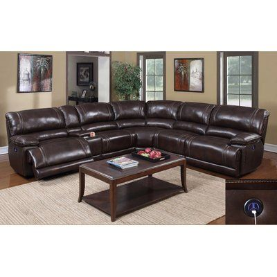 E-Motion Furniture Zane Leather Sectional with 3 Power Recliners  sc 1 st  Pinterest : dillon motion sectional - Sectionals, Sofas & Couches