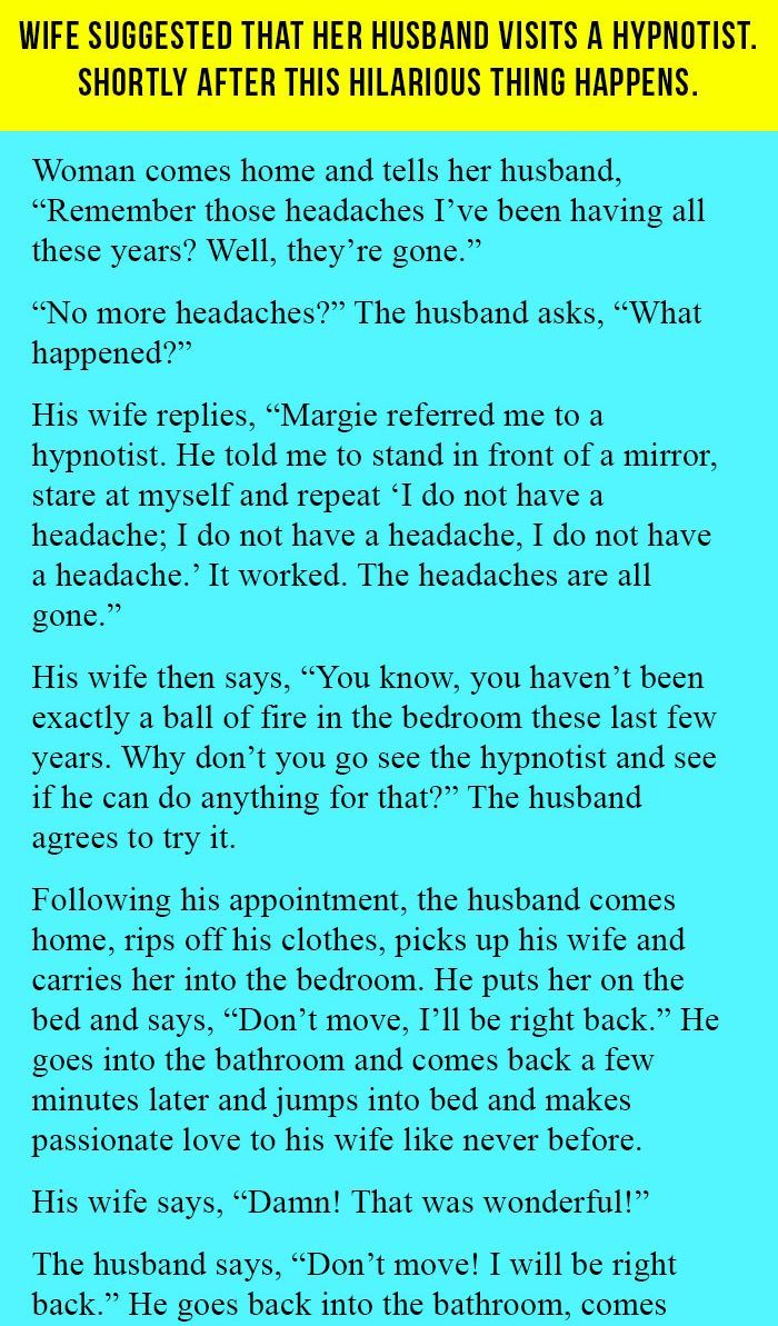 Wife Suggested That Her Husband Visits A Hypnotist Shortly After This Hilarious Thing Happens Doctor Jokes Funny Quotes Jokes