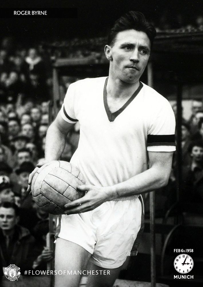 Captain of @manutd's Busby Babes, Roger Byrne leads Sir Matt Busby's side out at Old Trafford.