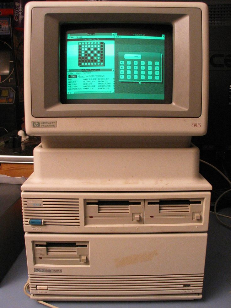 HP150 from 1983 running Microsoft Windows 1.0. Now, in 2013, it's Windows 8. 30 years later, only a few versions have elapsed.