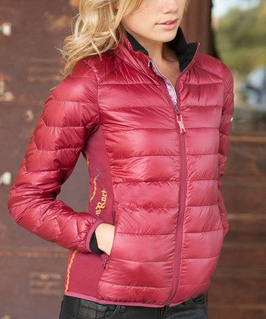 This Claret Caribou Ultra-Light Down Jacket - Women is perfect! #zulilyfinds