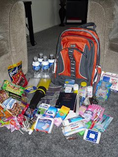 Emergency Survival 72 Hour Kits    This would be a great thing to put together especially if you have young kids.  I wonder if someone has something along this line for college kids - all the little things that would come in handy?