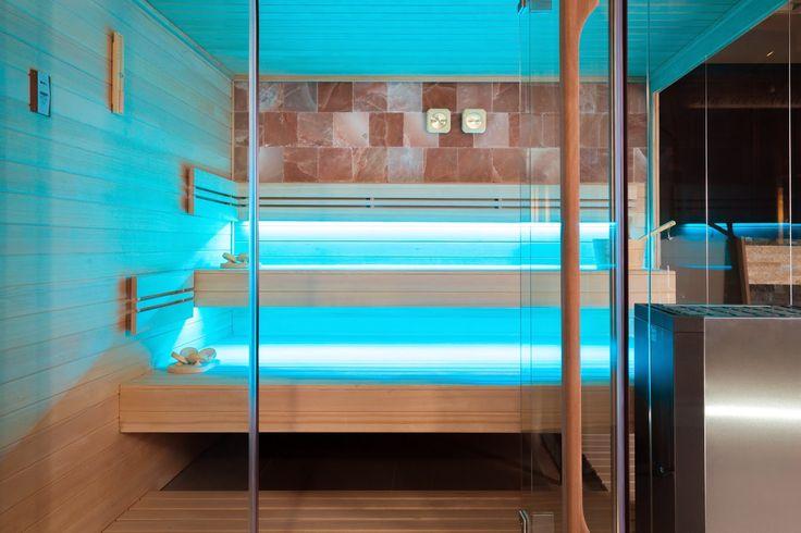 Sauna with aqua lighting.
