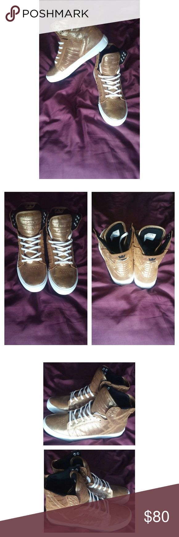 Supra Muska 001 Brand new never worn.  Size 10 in womans. Size 8 in mens.  Gold glitter color. Doesn't come with a box. Open to reasonable offers. Please use offer button. Supra Shoes Sneakers