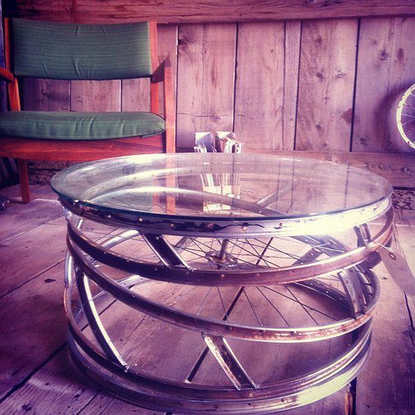 Recycle bike wheels into coffee table