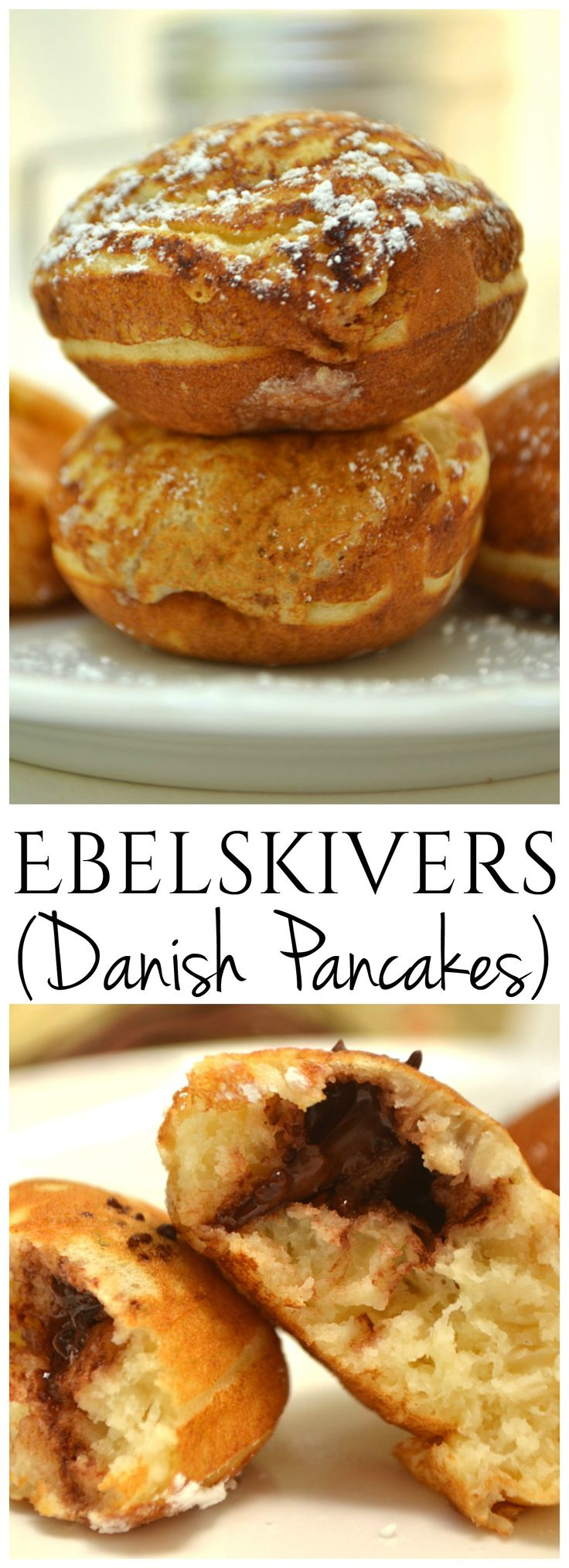Ebelskivers - A Danish pancake bite filled with jams or chocolate chips - Wonderful treat for breakfast or dessert   www.craftycookingmama.com