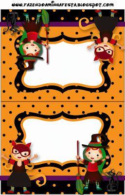 Halloween Menina – Kit Completo com molduras para convites, rótulos para guloseimas, lembrancinhas e imagens!   Fazendo a Nossa Festa