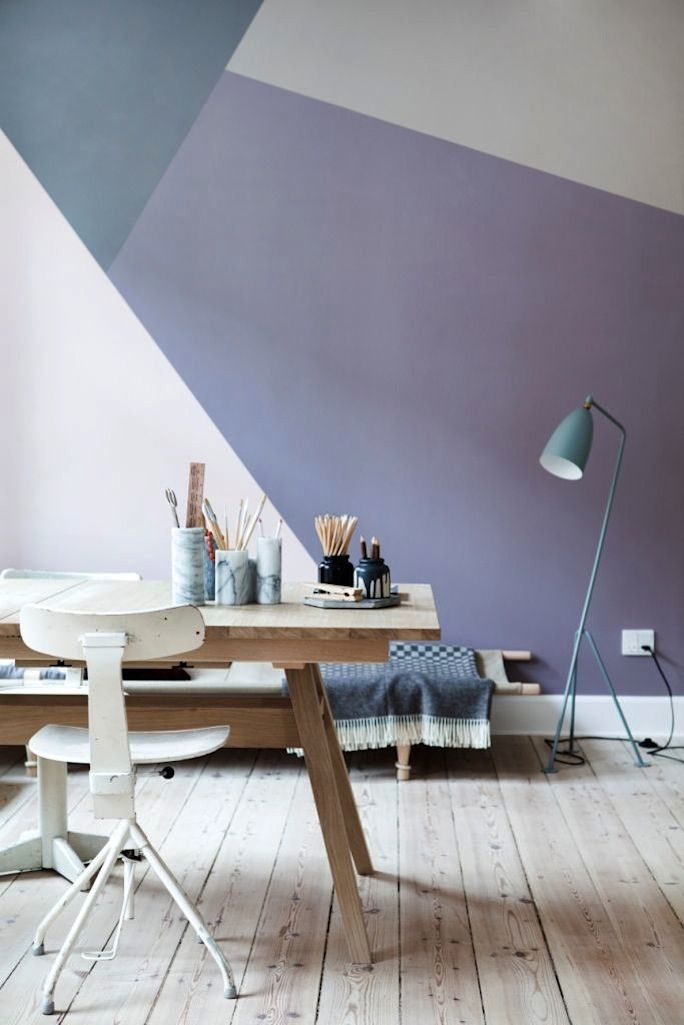Don't want the colors, per se, but I do want to do a wall like this. Then frame one large piece of art straddling the lines. Contrast the 90 degree angles of a frame against the irregular shapes and angles on the wall underneath.