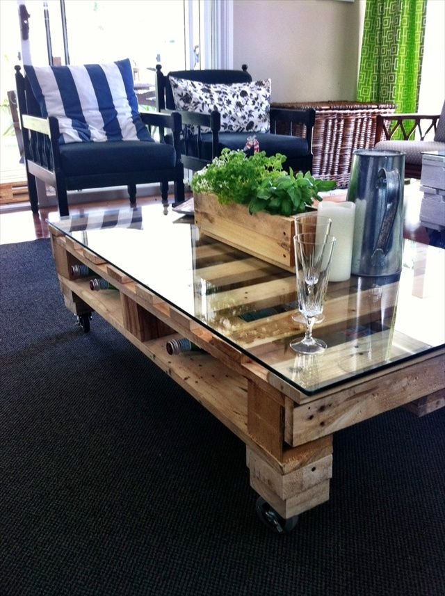 DIY Pallet Coffee Table Tutorial. Terrible directions, but pretty good pictures to figure out the steps.