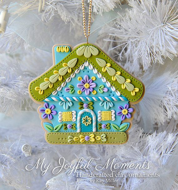Handcrafted Polymer Clay Gingerbread House by MyJoyfulMoments, $15.00