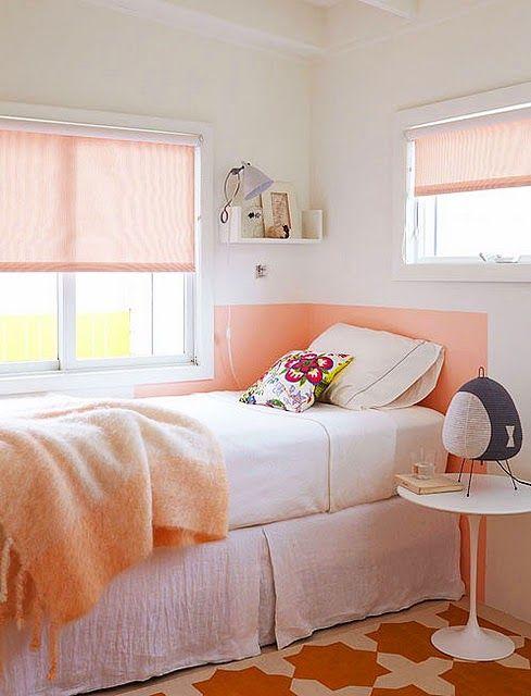 painted headboard #peach #pink #bedroom #headboard