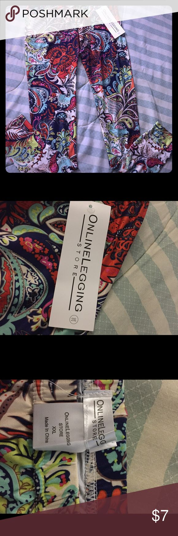Multicolored leggings from online leggings store Multicolored leggings from online leggings store in size xxl. They could probably fit someone who wears XL. New in original packaging. Bundle to save! online leggings store Pants Leggings