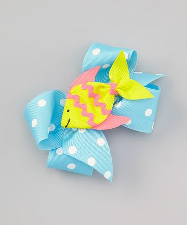 Take a look at this Blue Polka Dot Bow & Tropical Fish Clip Set by Picture Perfect Hair Bows on #zulily today!
