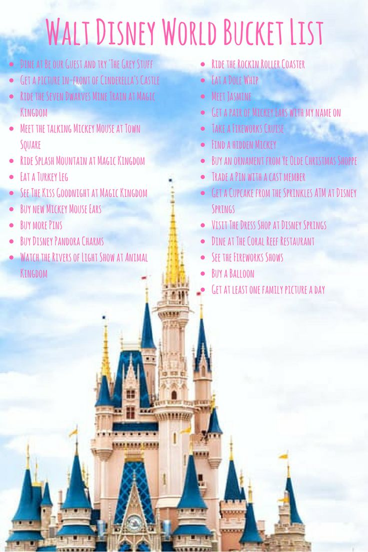 With less than a week to go until we go to Disney World, I thought i'd create my ultimate bucket list. This one will be for myself and I'll ...