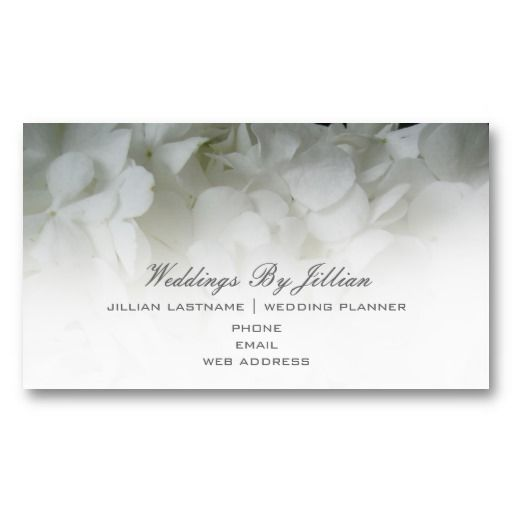 Wedding Planner Business Card White Hydrangeas
