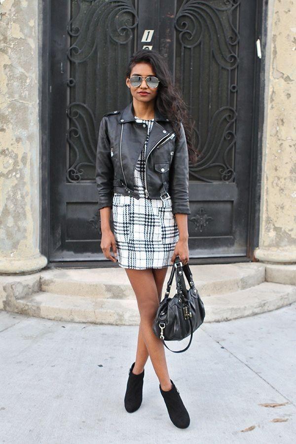 Black leather jacket, patternerd dress, aviator sunnies//