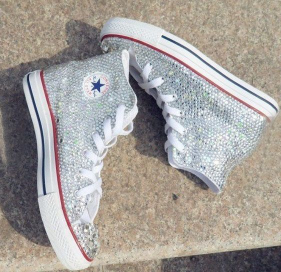 bling flat shoe crystal Casual shoes luxury Canvas shoe bling Converse sneakers