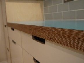 Birch Plywood Worktops with a formica top (available in a wide range of colours)