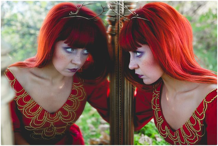 thISme, make-up, fairytale, freckles, colors, redhead, arina varga, rada ureche, monica popmark, sabina mladin, woods, wild, fashion, dress, red, lace, flowers, jewellery, gold, mirror, beads, deer, horns