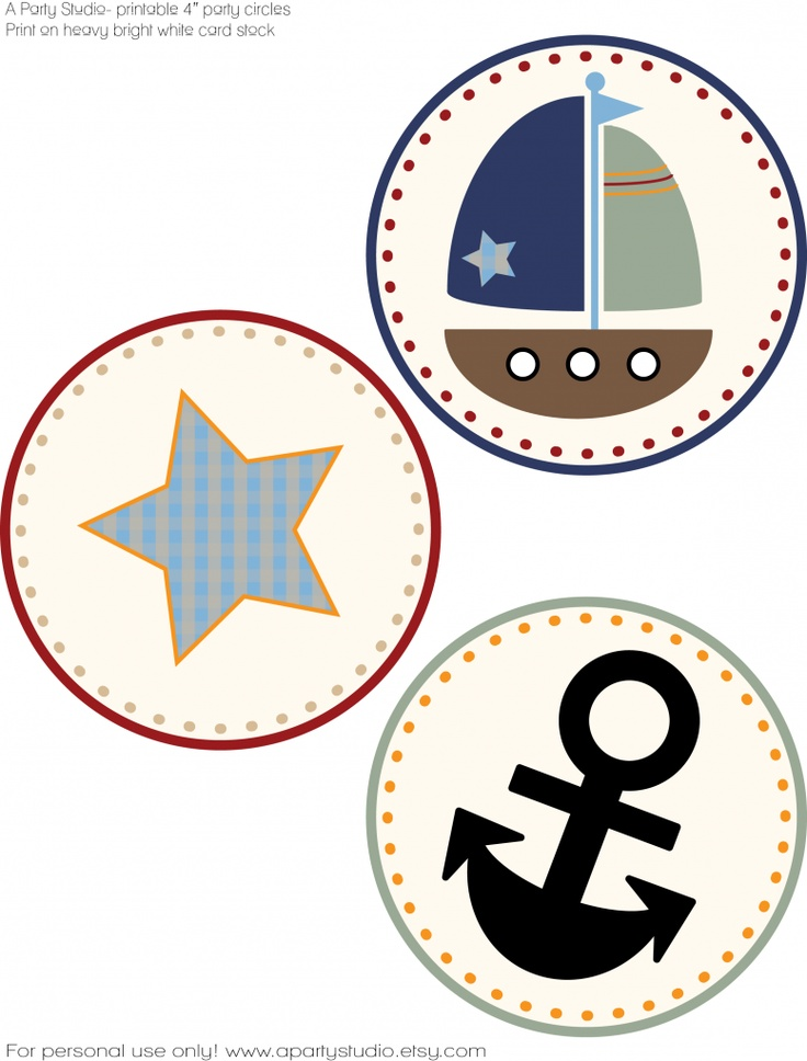 Free.... Nautical themed 4 inch party circles! Make great party decorations! <3
