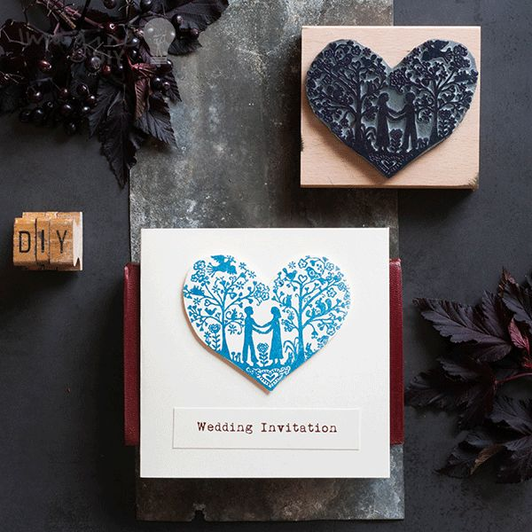 Low Cost Heart Stamp Wedding Stationery