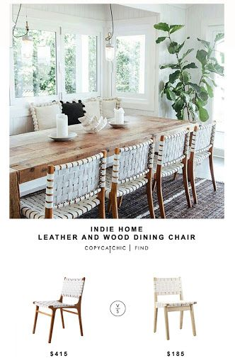 Indie Home Wood and Leather Dining Chair for $415 vs Modway Weave Dining Chair for $185 | Copy Cat Chic budget home decor looks for less