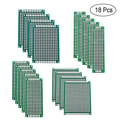 Blinbling 18 Pcs 4 Size Double Sided PCB Board Prototype Kit for DIY  QUANTITY - 18 Pieces double sided PCB board: pre-tinned holes; Material: glass fiber; Thickness: 1.6 mm; Each column and row is clearly labelled to make assembly less error prone. Hole diameter: approx. 1.0 mm; Hole pitch: 2.54 mm; Both sides are soldered uniformly and consistently including plated through holes and pads.  4 DIFFERENT SIZES - 5pcs of 2x8cm, 3x7cm, 4pcs of 4x6cm, 5x7cm size board which is a good assor...