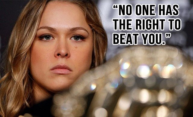 "Ronda's words of wisdom! Another way of putting it is: ""It's my opponent's destiny to fall by my hand!"""