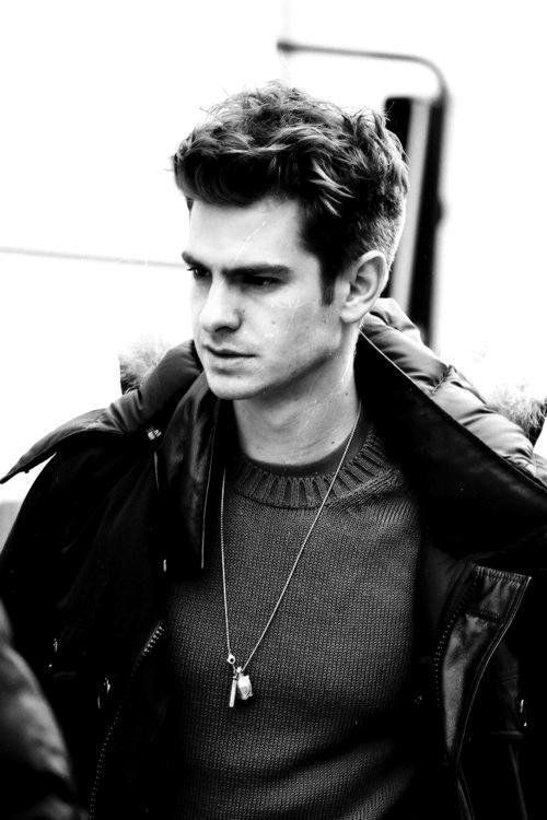 actor, b&w, and ha... Andrew Garfield