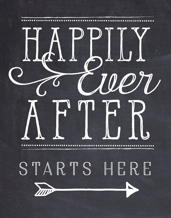 Rustic wedding sign chalkboard art Happily Ever After Starts Here Instant…