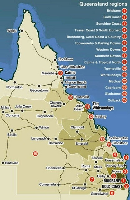 Map: Queensland Regions ~ ~ ~ The sunshine state! Glorious one day = beautiful the next!