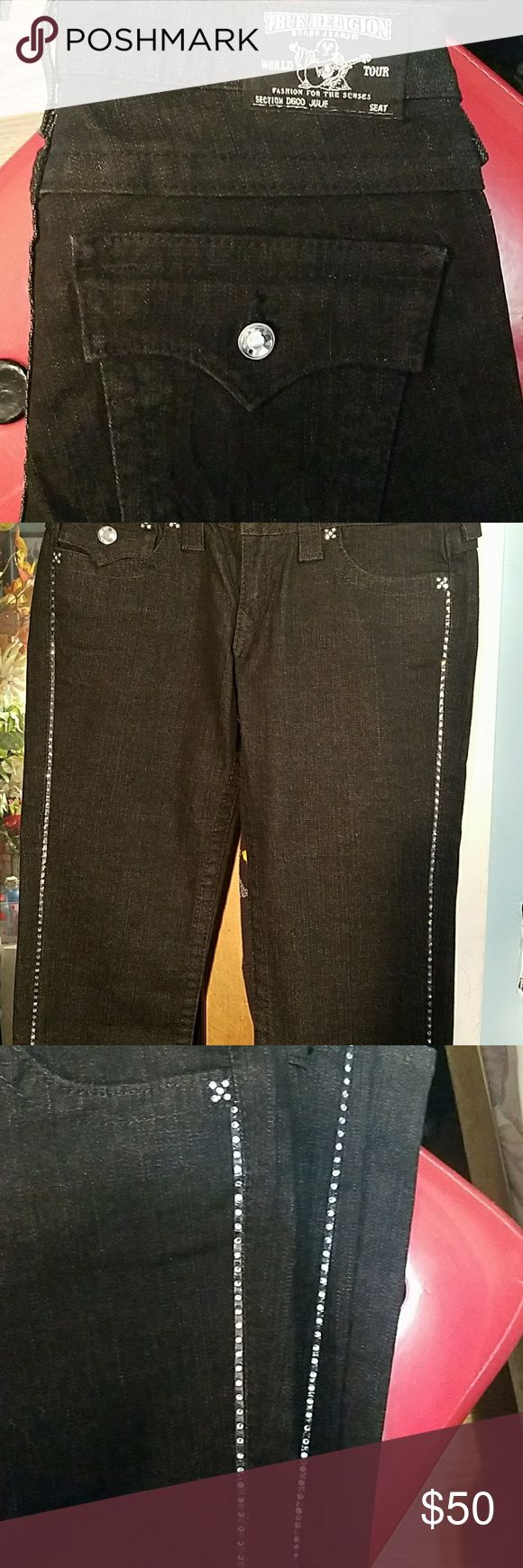 True Religion women's jeans These are black skinny. Stretchy and have diamond like jewels that go all the way down each pant leg. Very cute. Almost new. No damage. True Religion Pants