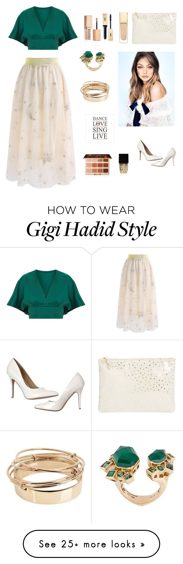 """Stars"" by ivanazb on Polyvore featuring Chicwish, Clare V., Stephen Webster, Valentino, Yves Saint Laurent, tarte, Witchery and Stila"