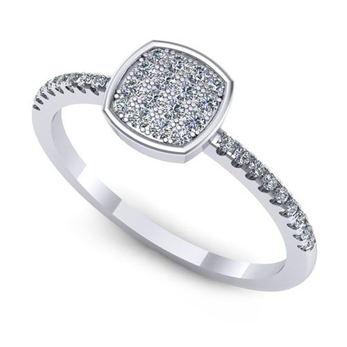 Inel logodna F141ADI * Piatra principala: 16 x diamant, dimensiune: ~1.30mm, greutate totala: ~0.16ct, forma: round * Pietre secundare: 18 x diamant, dimensiune: ~1.00mm, forma: round