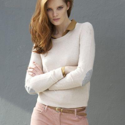 pulover scurt cu cotiere contrastante pentru femei