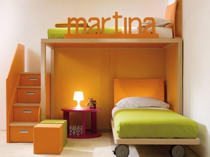 Bedroom. Colorful Painted Oak Wood Corner Bunk Bed Combined Dark ...