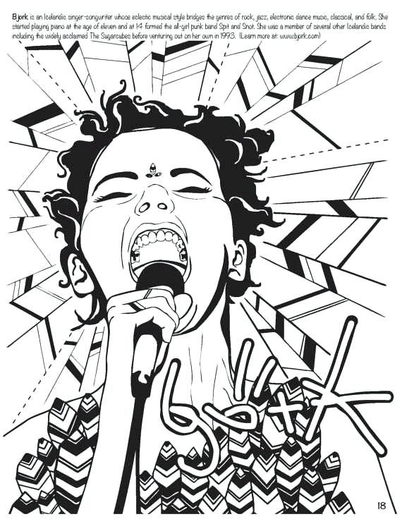 rock star coloring pages feminist sketchbooks colouring rock star ...