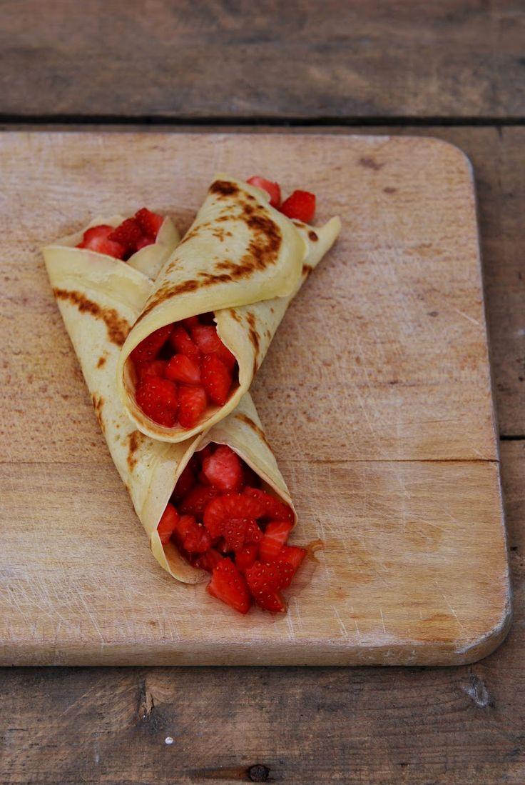 Weight Watchers fotoproject : Speltpannenkoeken met aardbeien