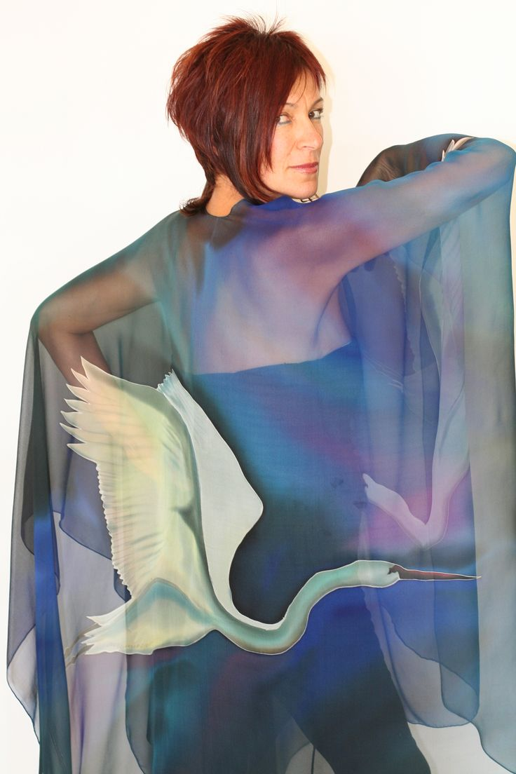 Egret - Hand painted silk cape by Natasha Foucault, represented by Human Arts Gallery in Ojai, CA.