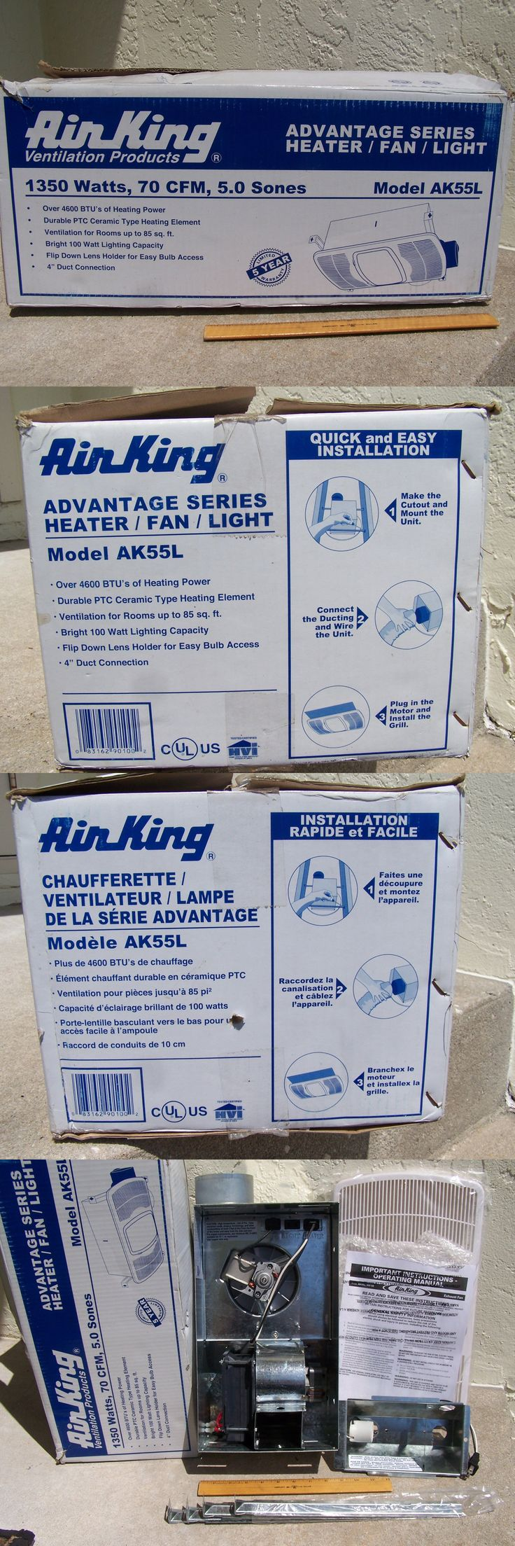 White ixl tastic neo single bathroom 3 in 1 heater exhaust and led - Space Heaters 20613 Air King Ak55l 70cfm Bathroom Heater Exhaust Fan And Light