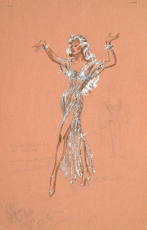 The Nifty Fifties - Costume sketch by Edith Head for Marilyn Maxwell in 'Rock-A-Bye Baby', 1958.